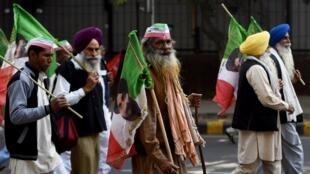 Des femiers indiens défilent dans les rues de New Delhi, le 30 novembre 2018.