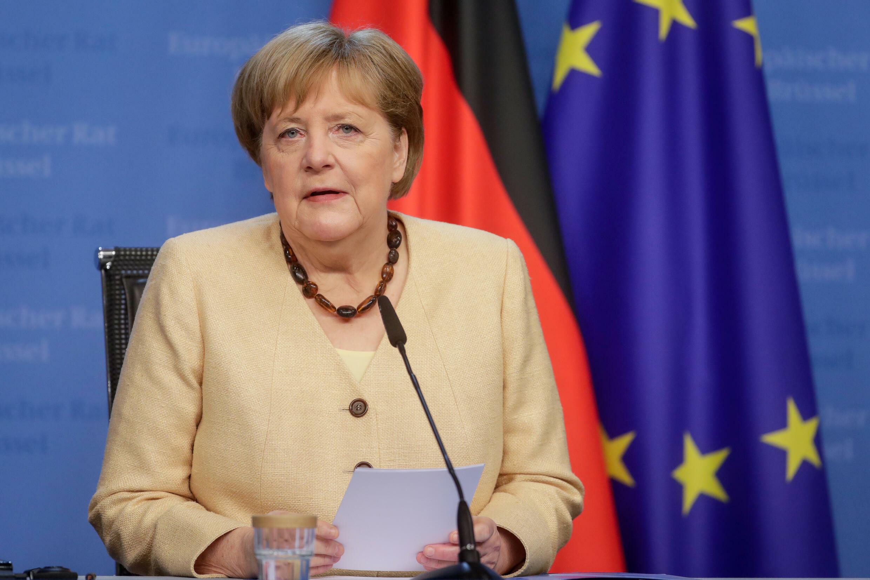 La canciller alemana, Angela Merkel, en una cumbre de la Unión Europea en Bruselas el 15 de junio de 2021