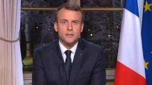 President Emmanuel Macron during his New Year's Eve address