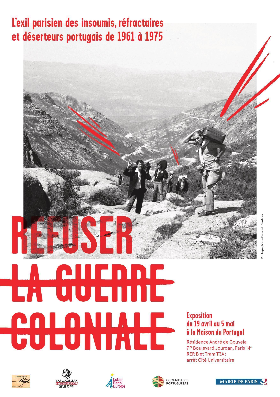 """Cartaz da exposição """"Refuser la Guerre Colonial""""."""