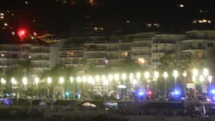 La Promenade des Anglais à Nice où un individu a foncé sur une distance de deux kilomètres sur la population se trouvant sur la promenade, le 14 juillet 2016.
