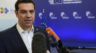 Le Premier ministre grec Alexis Tsipras, après son rendez-vous avec le président de la Commission européenne Jean-Claude Juncker, le 11 juin 2015.