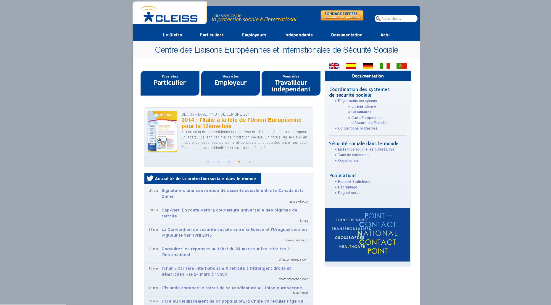 Site du Centre des liaisons européennes et internationales de sécurité sociale.