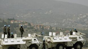 Des soldats de la Finul en poste à la frontière entre le Sud-Liban et Israël.