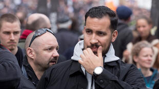 Alexandre Benalla, former aide to French President Emmanuel Macron, at Paris May Day protests on May 1, 2018.