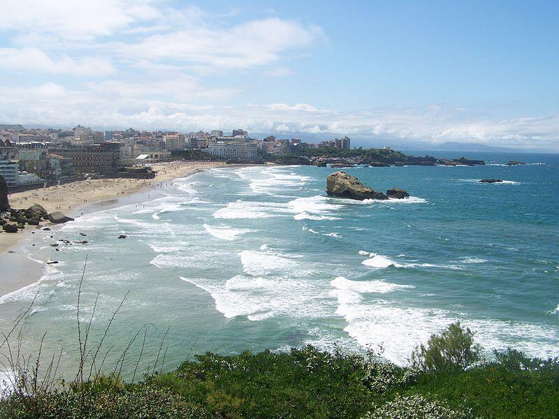 The Atlantic Ocean at Biarritz in Pyrénées-Atlantiques, France