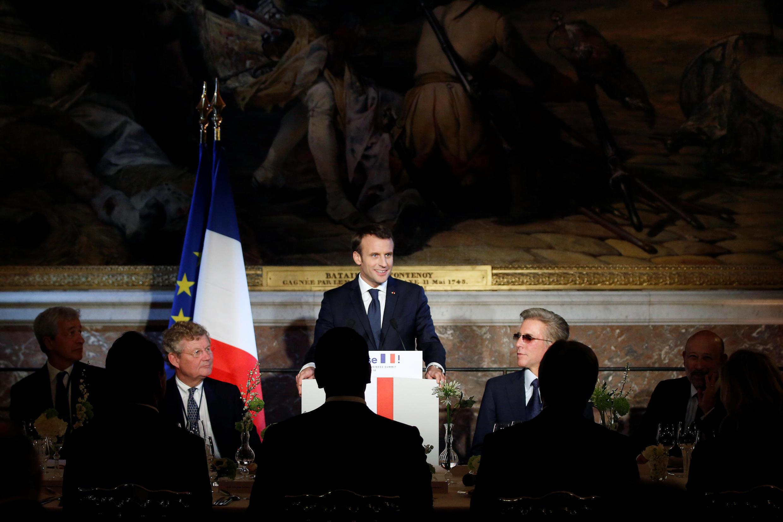 Emmanuel Macron, pendant le dîner au sommet «Choose France», dans le château de Versailles, le 22 janvier 2018.