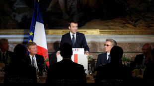 "French President Emmanuel Macron gives a speech during a dinner organized as part of the ""Choose France"" summit, at the Chateau de Versailles, near Paris, France, January 22, 2018."