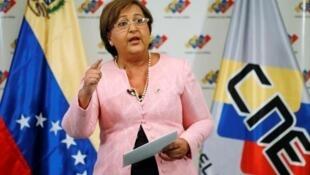 Tibisay Lucena, la présidente du CNE, le Conseil national électoral du Venezuela.
