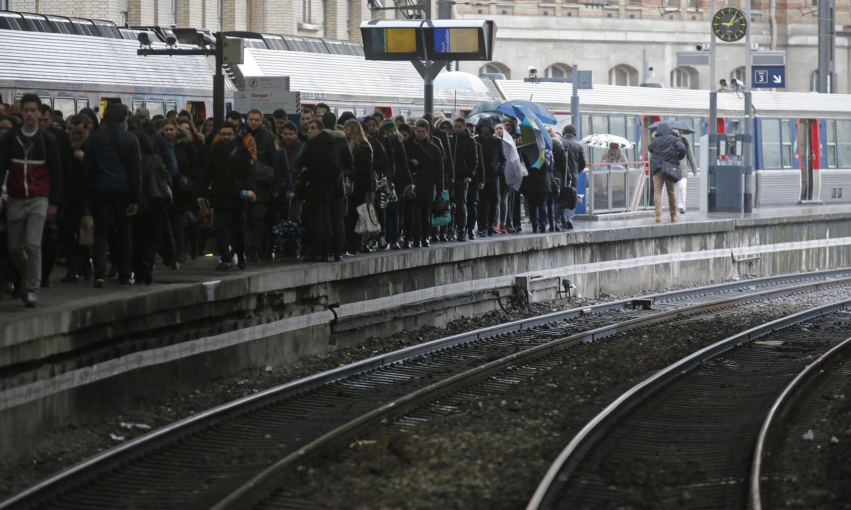 Paris's Gare Saint-Lazare railway station during the 9 March rail station