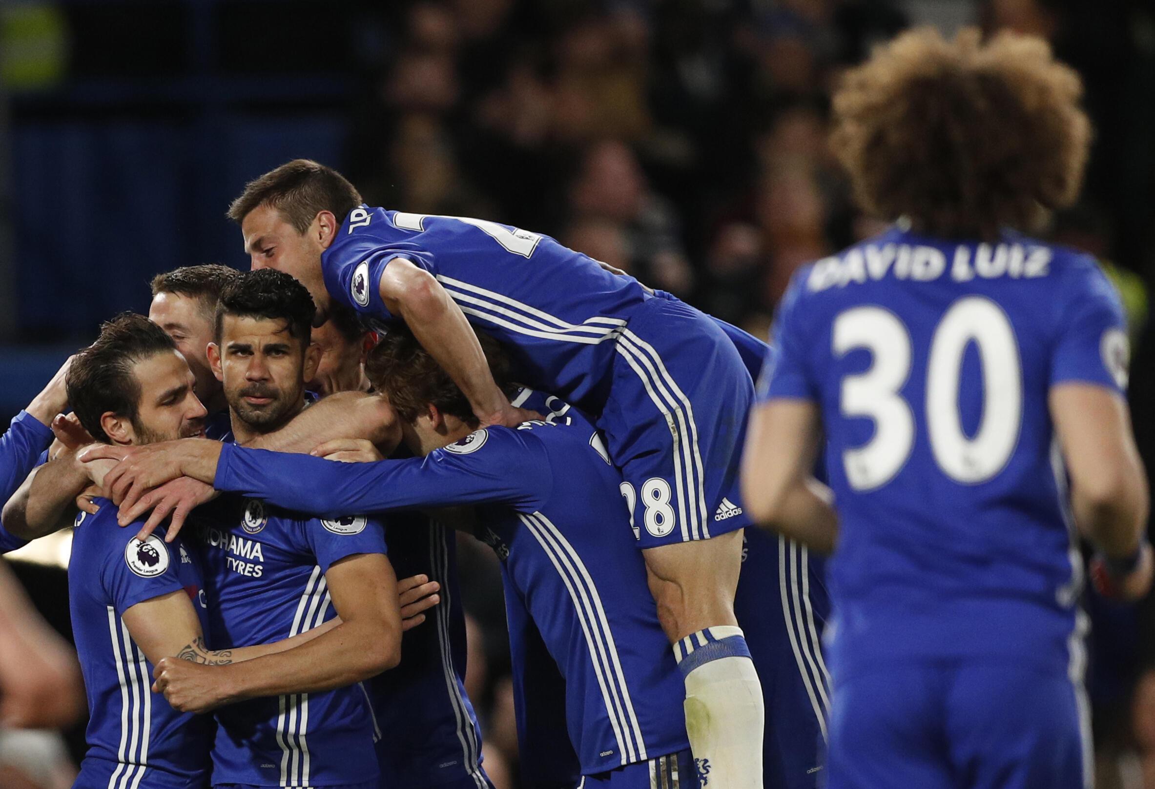 L'équipe de football de Chelsea, le 25 avril 2017, lors du match contre Southampton.