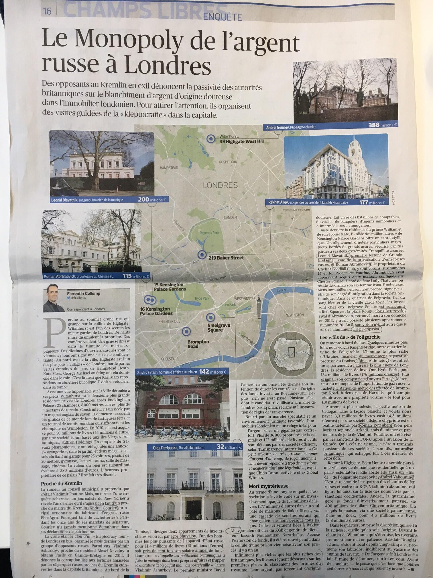 Газета Le Figaro совершила Клепто-тур по Лондону