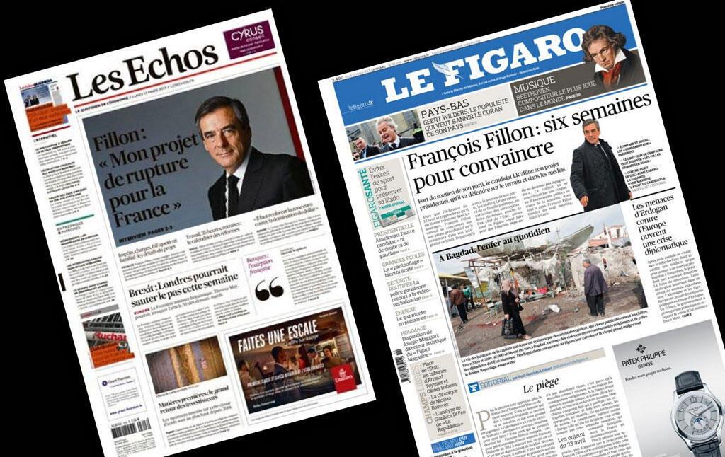 Capa dos jornais franceses Les Echos e Le Figaro desta segunda-feira 13 de março.