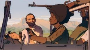Mais um dia de vida (Another day of life) de Raul de la Fuente e Damian Nenow, aqui Kapuscinski com a militante do MPLA Carlota.