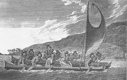Sacerdotes viajando a través de la bahía de Kealakekua, en una ceremonia de bienvenida a los occidentales, según un grabado del siglo 18, cuando James Cook llegó Hawai en 1778, unos meses más tarde morirá apuñalado por los nativos.