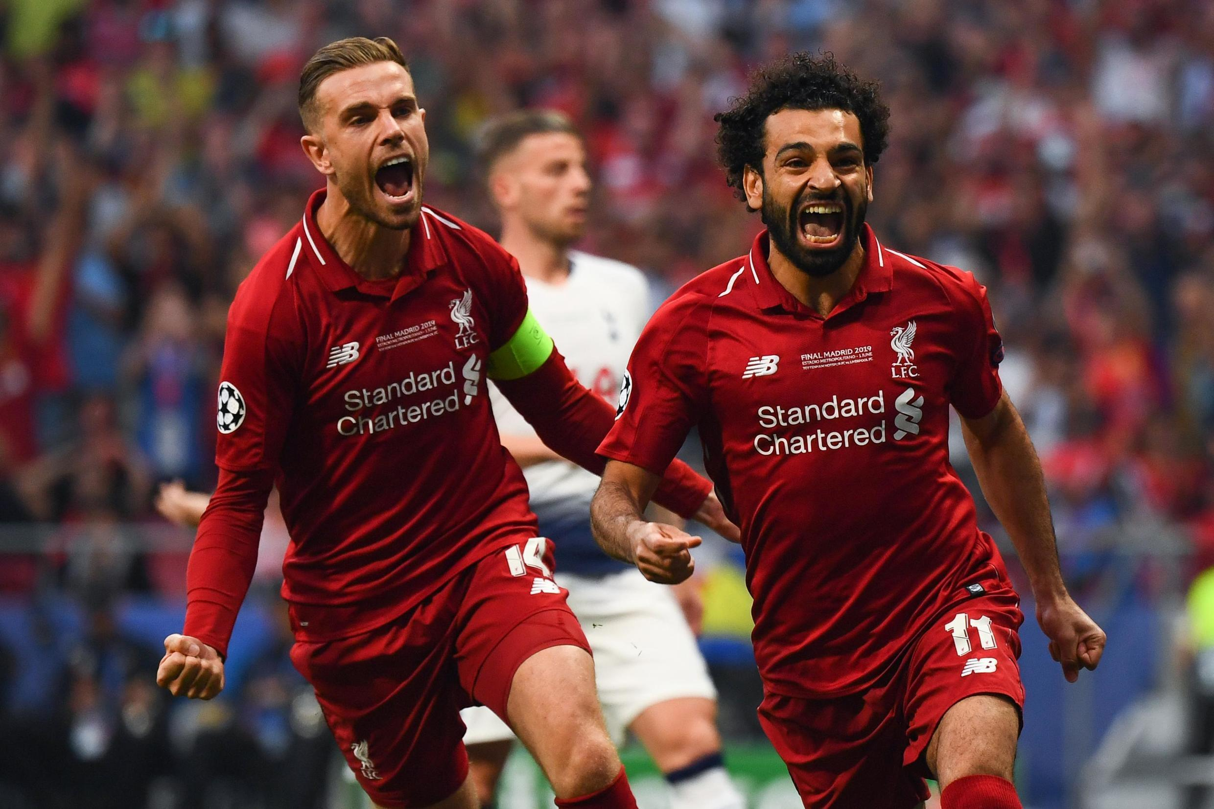 Egypt's Mohamed Salah scores for Liverpool in the final of the Champions League against Tottenham.