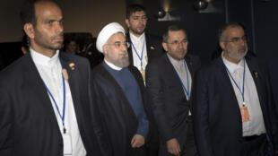 Le président iranien Hassan Rohani à New York, le 28 septembre 2015, dans le cadre de l'Assemblée générale des Nations unies.