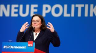 Andrea Nahles, nueva líder del frente del Partido Socialdemócrata Alemán, en Wiesbaden, Alemania, el 22 de abril de 2018.