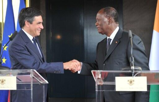 French PM François Fillon with Côte d'Ivoire President Alassane Ouattara in July
