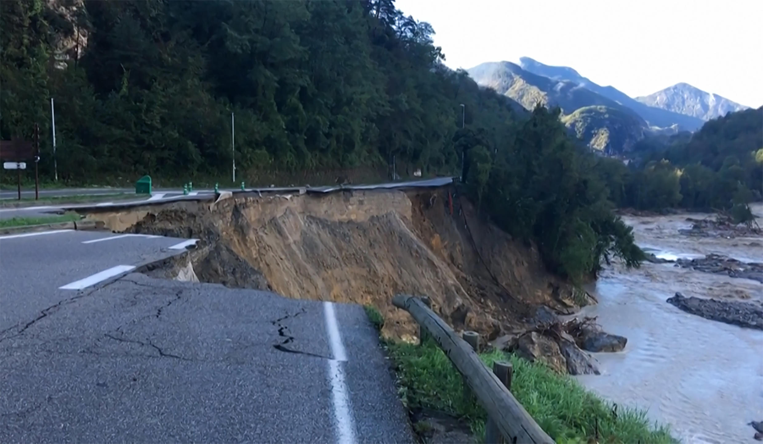 The downpour swept away several roads including this one at Bollene-Vesubie, a valley in Nice's hinterland.