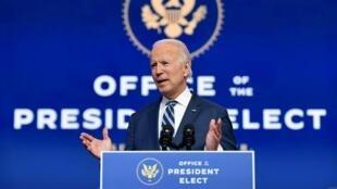 El presidente electo de Estados Unidos, Joe Biden, pronuncia un discurso en Wilmington, Delaware, el 10 de noviembre de 2020