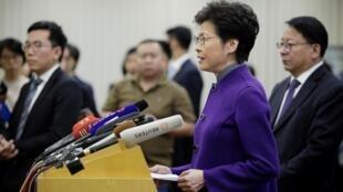 Lãnh đạo Hồng Kông Lâm Trịnh Nguyệt Nga (Carrie Lam) trong cuộc họp báo tại Bắc Kinh, ngày 06/11/2019.