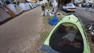 Un camp de tentes érigé à Tel-Aviv pour manifester contre les prix élevés du logement. Le 18 juillet 2011.