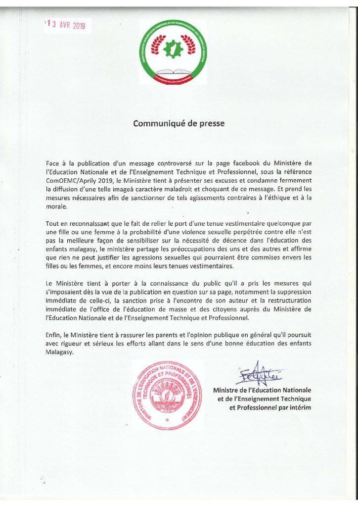 Official letter of apology posted on website of Madagascar's Ministry of Education