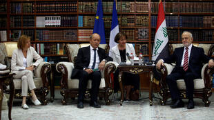 French Foreign Minister Jean-Yves Le Drian and Defence Minister Florence Parly meet with Iraqi Foreign Minister Ibrahim al-Jaafari in Baghdad, Iraq on 26 August, 2017.