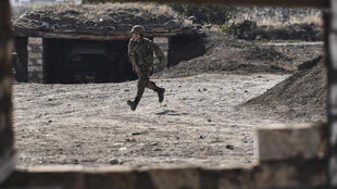 Armenian soldiers have to be alert for drone attacks.