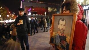 Des manifestants orthodoxes protestent contre la sortie du film «Matilda» lors de son avant-première à Moscou, le 24 octobre 2017.