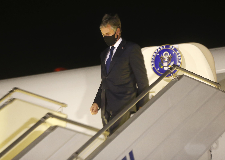 US Secretary of State Antony Blinken disembarks at Boryspil International airport outside Kiev, Ukraine, at the start of a one-day trip