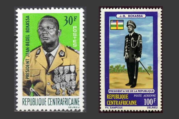Timbres à l'effigie de Jean-Bedel Bokassa, datés de 1966. Source : http://www.histoire-et-philatelie.fr/pages/005_decolonisation/1240_ex-colonies_4.html