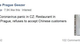Thông báo của nhà hàng Việt Nam tại Praha không tiếp khách Trung Quốc (Chụp tài khoản Facebook)