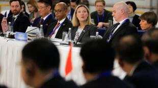 聯合國五常聚會北京美國代表湯普森(中)籲俄中核武透明2019年1月30日