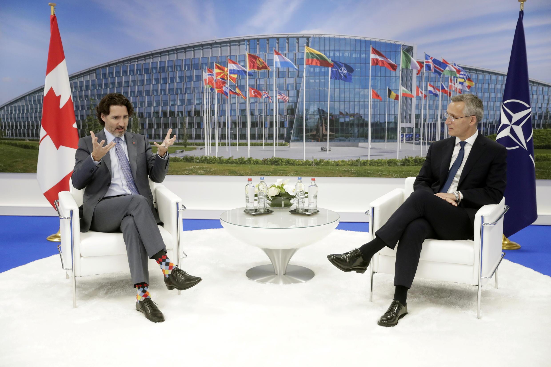 加拿大總理特魯多與北約秘書長斯托爾滕貝格資料圖片