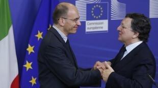 Enrico Letta et José Manuel Barroso à Bruxelles le 2 mai 2013.