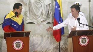 Президенты Венесуэлы и Колумбии на встрече в Санта Марте.