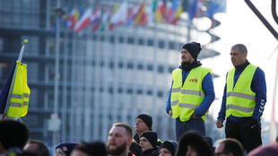 Yellow Vests in front of the European Parliament in Strasbourg, France, February 2, 2019.