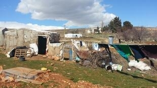 Tent in Lebanon's Bekaa Valley which has housed seven Syrian refugees for over two years