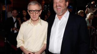 O cineasta Woody Allen com o produtor Harvey Weinstein em 04/08/2008
