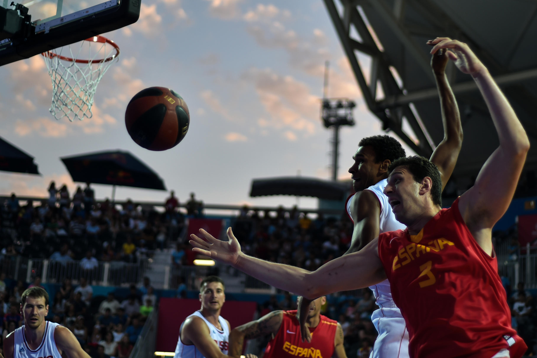 Un partido de básquet 3x3 en los Juegos europeos 2015