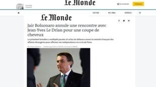 Le Monde diz que Bolsonaro trocou o encontro com chanceler francês por um corte de cabelo.