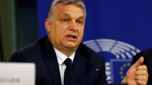 Thủ tướng Hungary Viktor Orban phát biểu trong buổi họp báo sau quyết định của liên minh đảng PPE tạm đình chỉ tư cách thành viên đảng Fidesz. Bruxelles, Bỉ ngày 20/03/2019.
