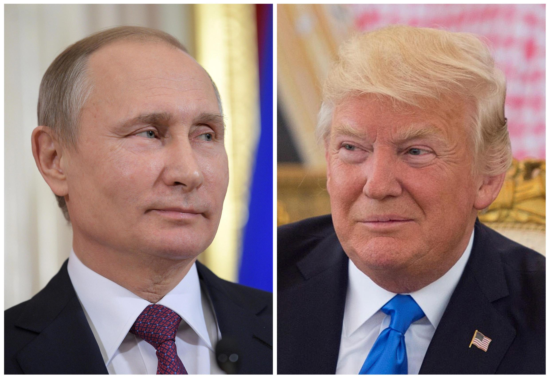 Tổng thống Nga Vladimir Putin (T) và nguyên thủ Mỹ Donald Trump (ảnh tư liệu của Reuters)