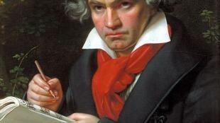 Ludwig van Beethoven, (portrait de Joseph Karl Stieler, 1820).