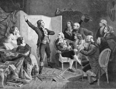 Claude Joseph Rouget de Lisle hát quốc ca Pháp, tranh của Paul Adolphe Rajon (thế kỷ XIX).