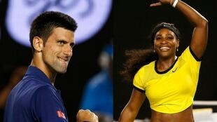 Novak Djokovic e Serena Williams no Open de Tênis da Austrália, em Melbourne.