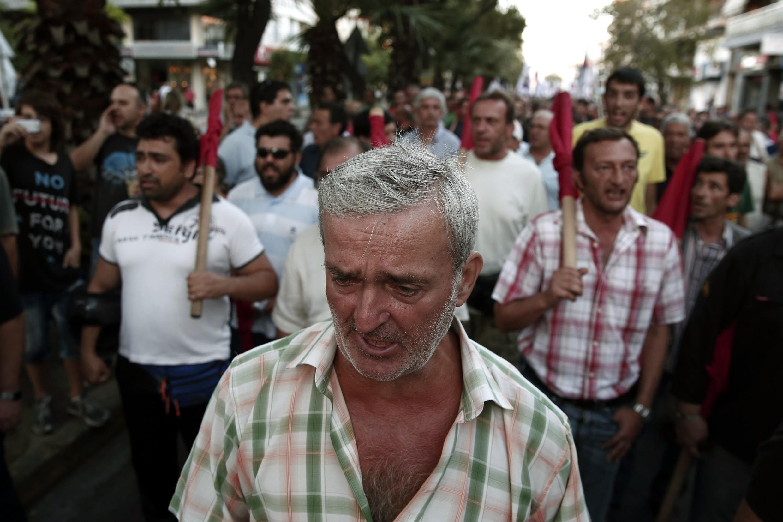 Rassemblement antifasciste après l'assassinat de Pavlos Fissas, un rappeur sympathisant de l'extrême gauche, le 19 septembre 2013.