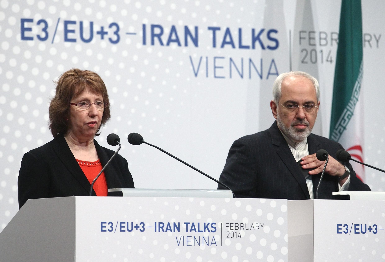 Catherine Ashton na waziri wa mambo ya nje wa Iran Minister Mohammad Javad Zarif jijini Vienna